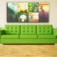 Trees and mushroom natural scenery wall picture 6pcs canvas art painting