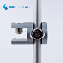 Manufacturer price display panel support single sided Aluminum glass clamp for 6.0mm rod RB1610