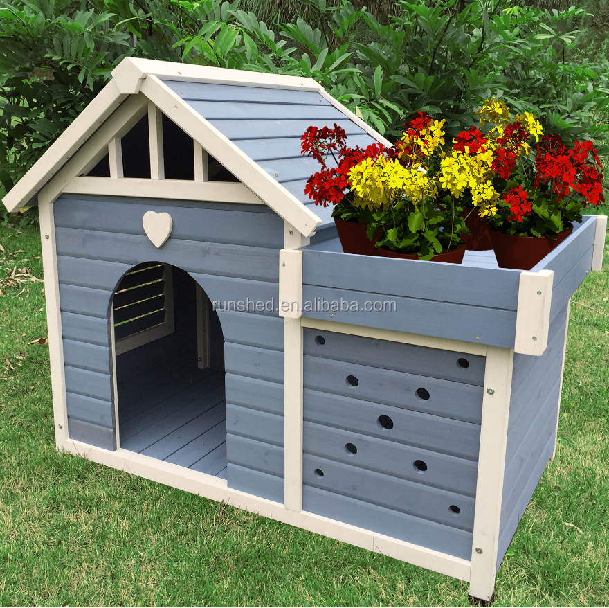Eco-friendly Outdoor solid wood dog kennel W1165*D764*H970(mm) Customized Multi-function Garden style pet kennels Shelter Cubby