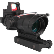 Tactical Trijicon ACOG 4X32 Sight Scope Real Red Fiber Source Red Illuminated Rifle Scope