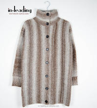 Wool Knitted Long Cardigan Latest Sweater Designs Space dyed Women Knitwear