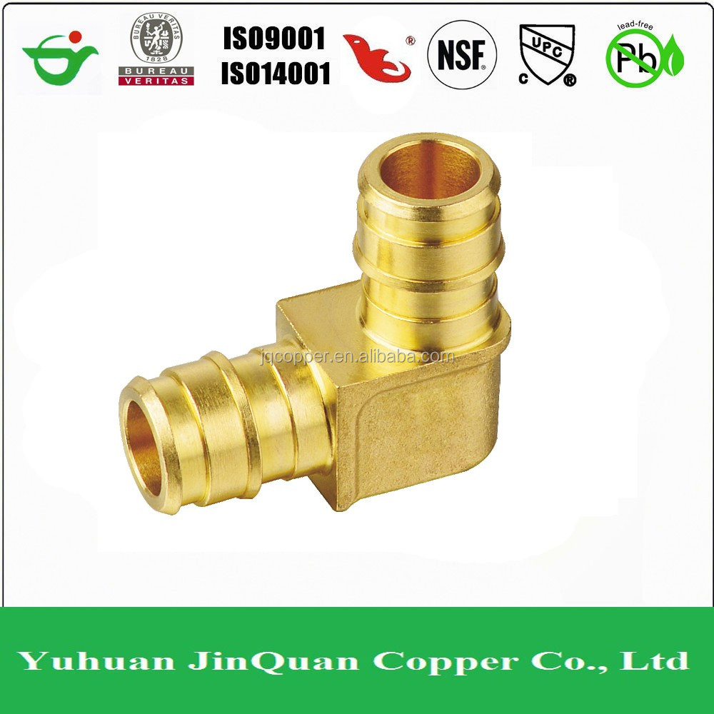 F1960 PEX 90 Degree Elbow Fitting Lead Free Barbed Brass