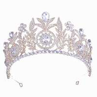 Gold color bridal tiara and crown wedding princess headband party prom hair accessories