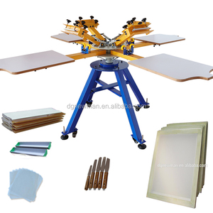 High quality Manual 4 Color 4 Station T Shirt Screen Printing Machine with low price