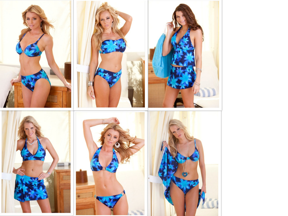 Wholesale Swimwear Navy Turq Blue Reef Collection- Mix & Match Tops and Bottoms