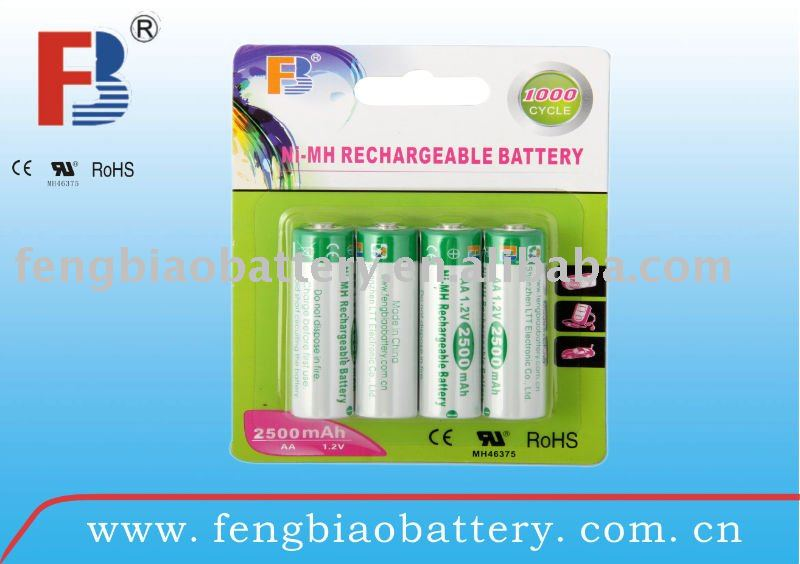 aa size battery 2500mah 1.2V, 4 pcs in one blister card