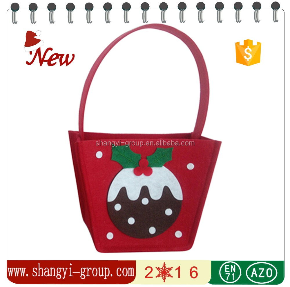 (XM9-20B)wholesale christmas decorations supplies making felt hanging gift basket