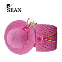Promotinal Little Girls Summer Straw Paper Hat and bag Set with Bowknot