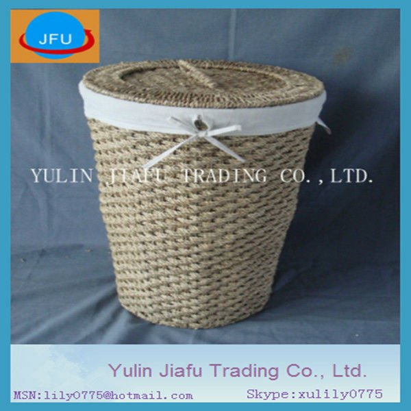 Round nice cloth liner seagrass hand-woven laundry hamper & basket