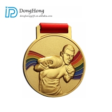 Cheap Custom 3D Ribbon Award Gold Medals Zinc Alloy Boxing Sports Medal