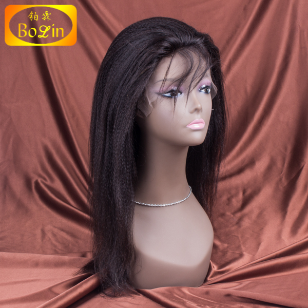 Wholesale unprocessed 100% malaysian kinky straight 4*4 silk top full lace wigs