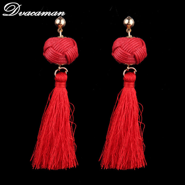 Dvacaman 4 colors Ethnic Bohemi Tassel Drop Dangle Statement Earrings for Women Antique Fringing earrings wholesale 6313