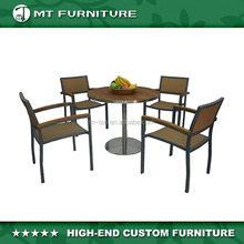 Dining Round Table Set 4 Seaters for Outdoor Use Restaurant Teak Wood or Polywood and Stainless Frame with PE Wicker