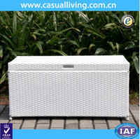 Outdoor aluminum Frame wicker woven large storage box with lid