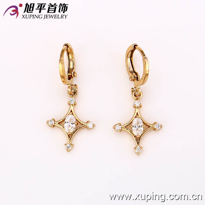 27278 New design graceful women jewelry star shaped shining imitation diamond drop earrings