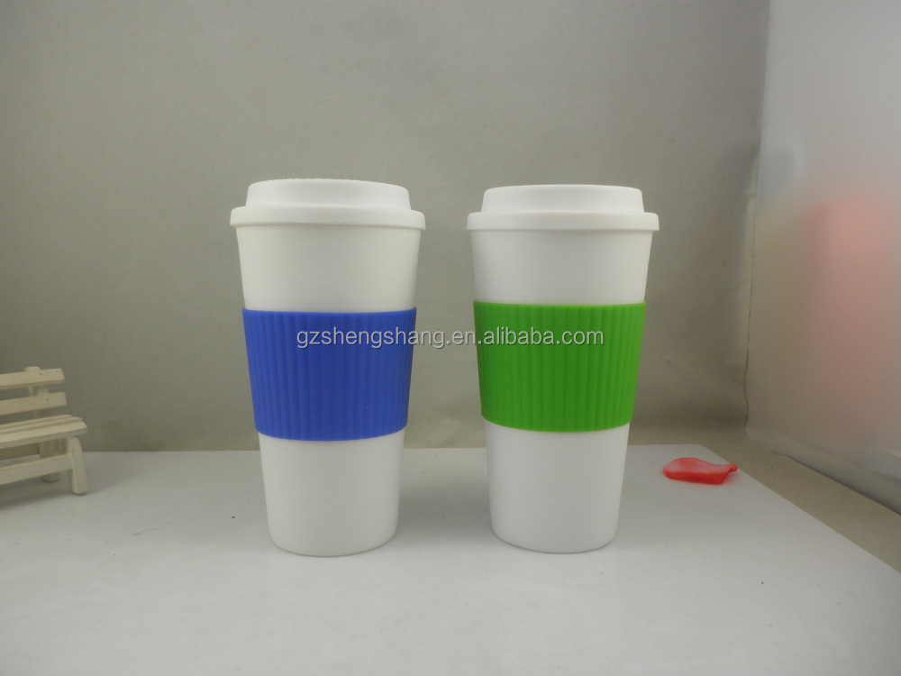 450ml double wall plastic coffee cup with bpa free, plastic insulated coffee mugs