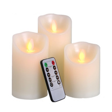 "4"" 5"" 6"" Set of 3 Ivory White Battery Operated Electric Candles LED Flameless Candles with Timer and Remote Control"