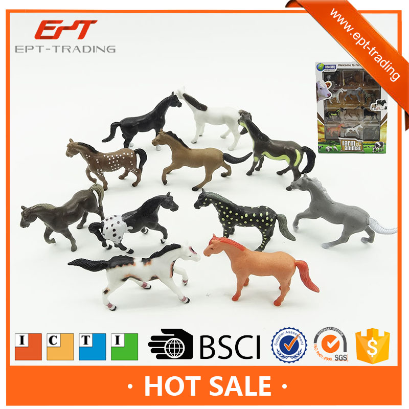 2017 New farm animal toys series plastic race horses toys with CE