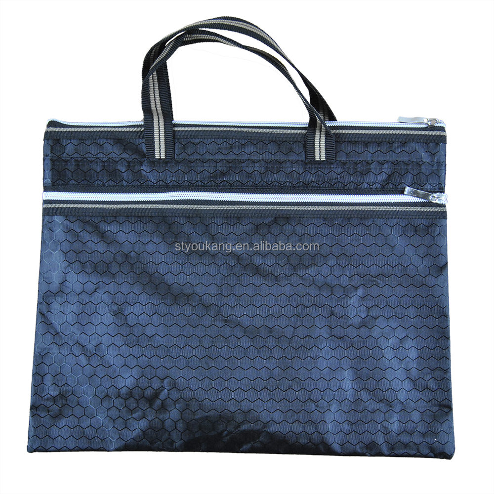 Good quality Oxford Fabric PU A4 file handbag zipper bag/meeting bag/file pocket/pouch