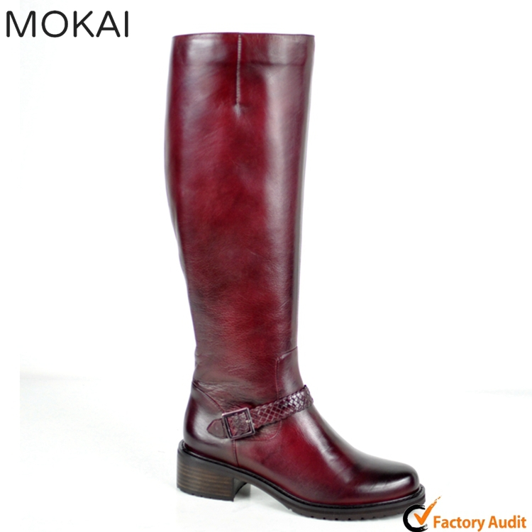 MK029-10 BURGUNDY handmade top quality real leather knee boots popular color fancy boots