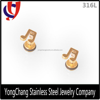 Wholesale gold 316L stainless steel line cut stud earring with the note for body jewelry