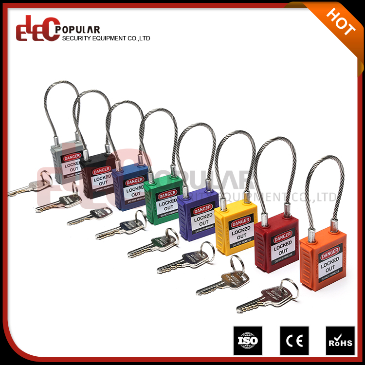 Elecpopular New Products Keyed To Differ Key Cable Shackle Lock Nylon Body Safety Padlock