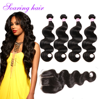 8ABrazilian Virgin Hair Bundles with Lace Closure Total 5 Pieces Hair Weave 5 Starts Human Hair Extensions for African Americans