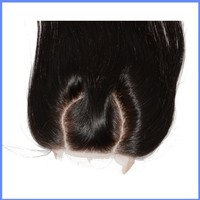 New Products Peruvian Virgin Hair 2 Part Straight Top Closure 5X5 Curved Part Lace Closure