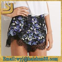 Beautiful floral printed ruffled cotton shorts, casual shorts for women, camouflage shorts