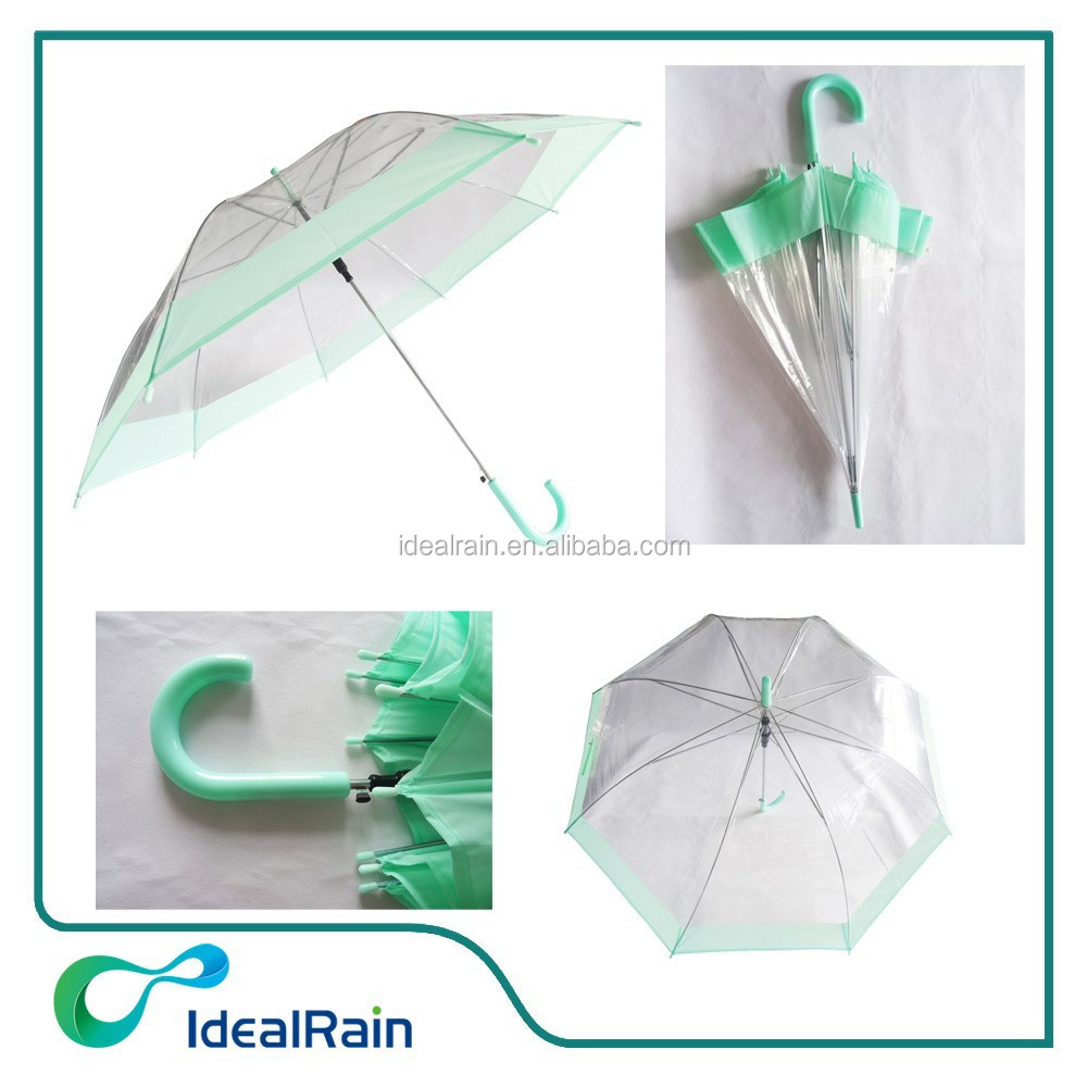 Long Auto Open Clear Plastic Bubble Umbrella