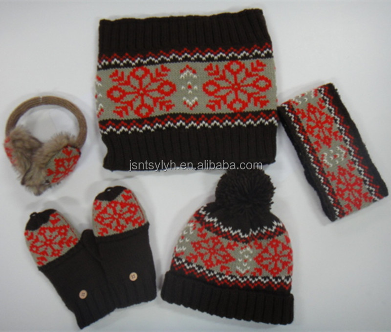 Fashionable 2015 new design women knitted hat scarf gloves and handband set