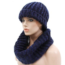 New design High quality thick warm unisex customized knitted scarf and hat set
