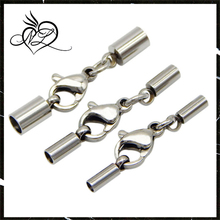 Stainless steel End Caps - End Cap with Lobster Claw Clasp & Extention Chain for Leather Cord DIY jewelry Finding