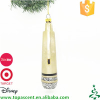 Wholesale high quality blown glass golden color musical microphone christmas ornaments made in China