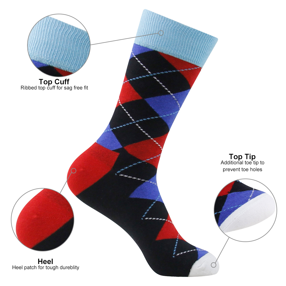 Wholesale Design Sock Colorful Knitted Men Crew Socks