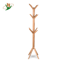 Freestanding Entryway Bamboo Wood 12 Hook Garment Tree Rack Hallway Coat & Hat Stand