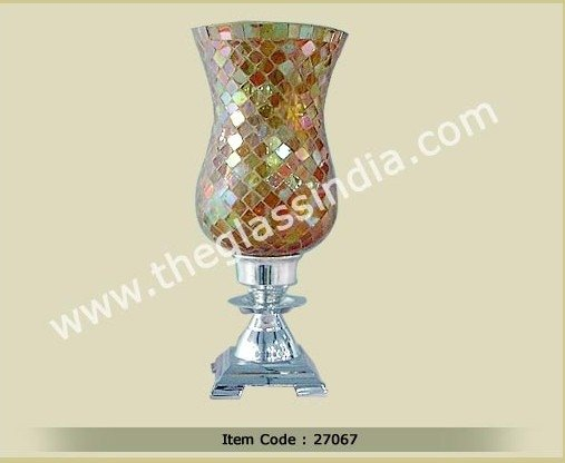 Glass Hurricane--Bright yellow Mosaic Glass hurricane on stand with Pewter finish