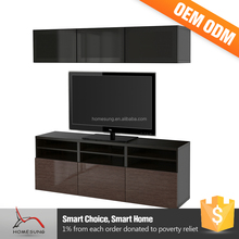 Foshan Homely Led With Showcase Wall Units Living Room Lcd Tv Stand Wooden Furniture