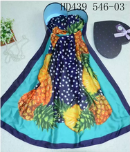 Women's Long Oblong Scarf 100% Polyester Silk Feeling with pineapple printing