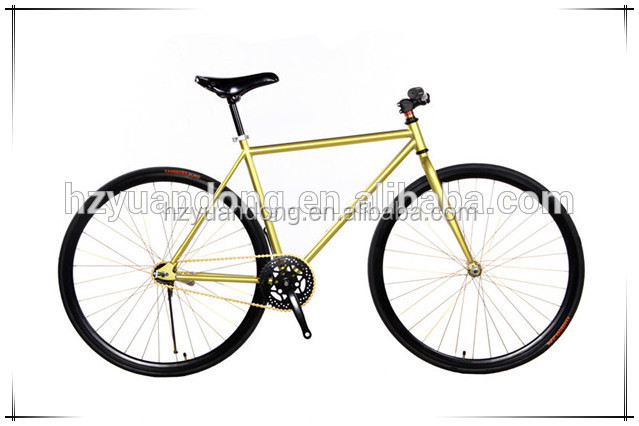 OEM Bicycle Manufacturer Hot Sale 26'' 700C Carbon Frame Gloss Gold, Red, Blue, Green Fixed Gear Road Bicycle