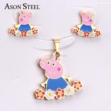 Gold-color Hot Kids Jewelry Stainless Steel Pink Pig Jewelry Set Cartoon Animal Necklace and Earring Set DIY jewelry