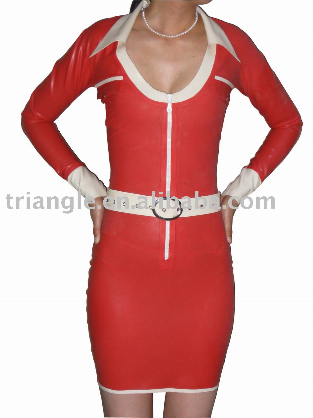 Red Latex Dress with Belt