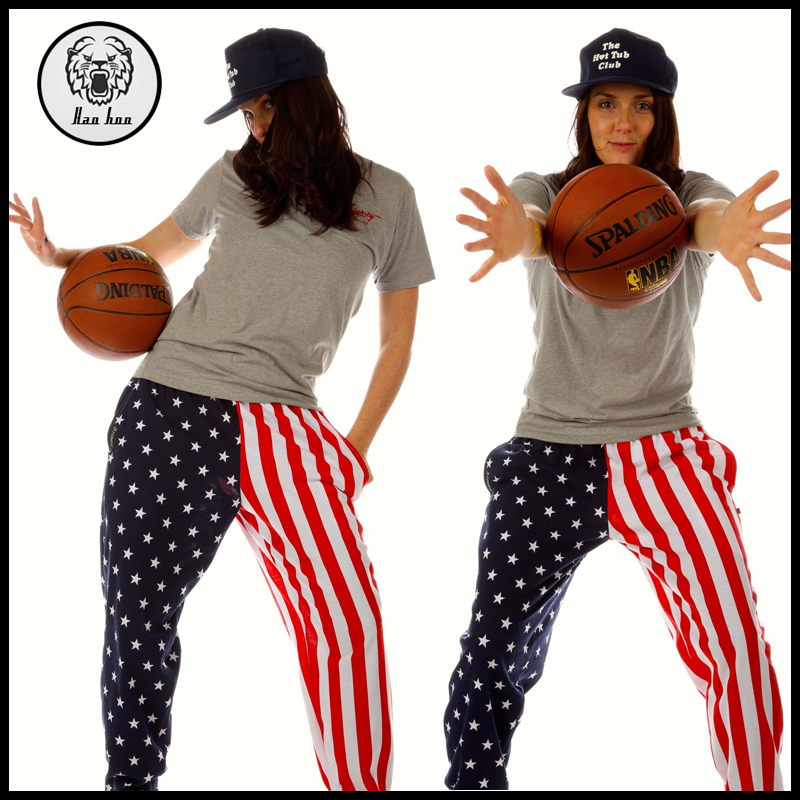 2016 Autumn American Flag Hippie Sport Pants for Women