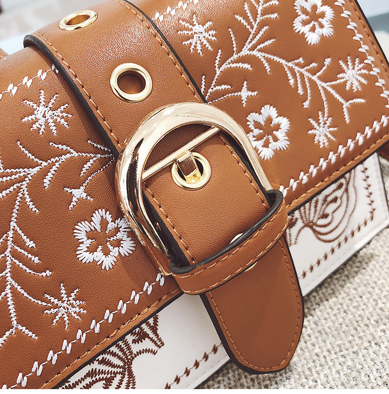 Toposhine Fashion Women Bag Panelled Vintage Flower Girls Bags for Girls Black PU Leather Women Messenger Bags Drop Shipping 15