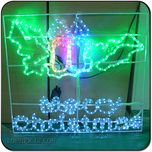 Rope light merry christmas sign outdoor silhouettes
