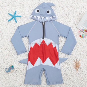 cute kids one piece suits boys girls swimsuit shark style hooded swimwear beach wear bathing suit plus size xl