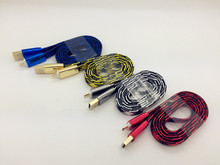 Factory Offer Directly Noodle Flat USB Cable 1M Colorful Nylon Braided Custom Charging Cable
