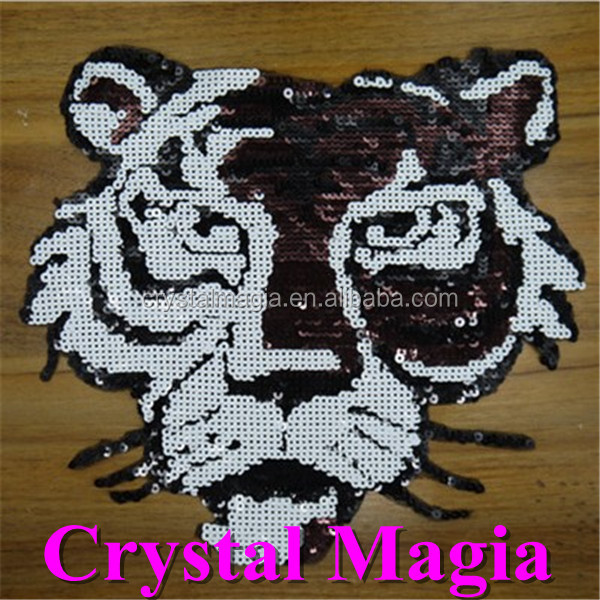 wholesale tiger design sequin beads patches iron on tiger patches