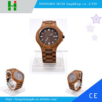 Hot selling fashion round dial quartz wood watch