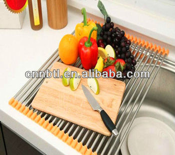 Kitchen utensils stainless steel foldable sink rack